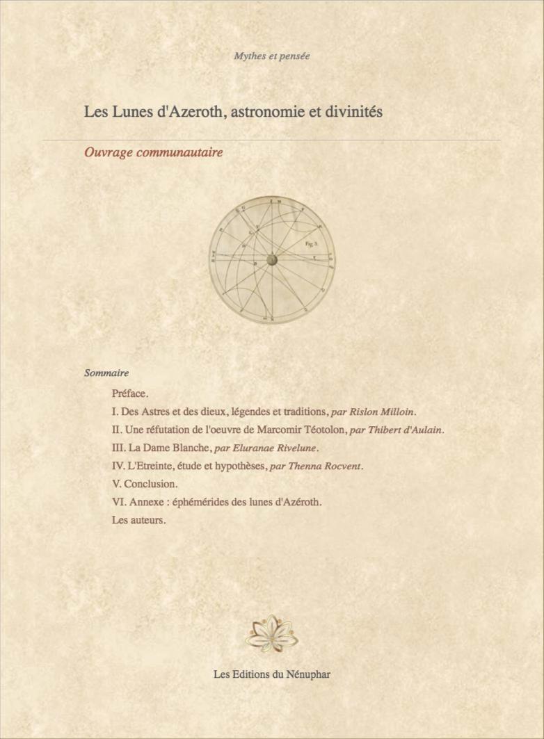Les Lunes d'Azeroth, astronomie et divinités. Couv_31